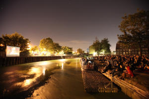 Audience for a Floating Cinema at Three Mills.   Photo:Nina Pope